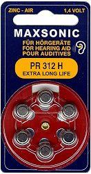 Hörgerätebatterien MAXSONIC PR312 Extra Long Life - Blister à 6 Zink-Luft Knopfzellen (PR70/ PR536)