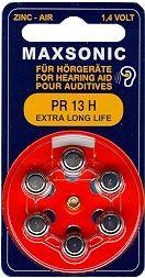 Hörgerätebatterien MAXSONIC PR 13 Extra Long Life - Blister à 6 Zink-Luft Knopfzellen (PR48/ PR754)