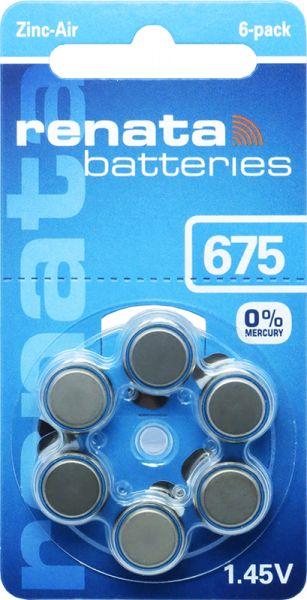 Hörgerätebatterien Renata ZA675 Zink-Air 0% Mercury (PR44/ PR1154)