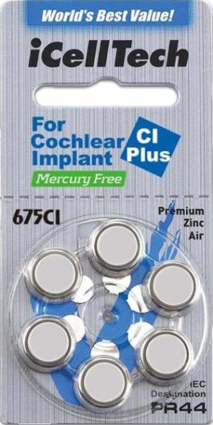 iCellTech 675 CI Plus Mercury Free - Batterie für Cochlear Implantate - PR44/ PR1154 - Blister à 6 Zink-Luft Knopfzellen