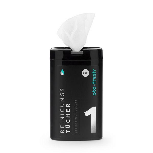 oto-fresh REINIGUNGSTÜCHER im Spender klein zur Reinigung- und Pflege von Hörgeräten, Gehörschutz und In-Ears