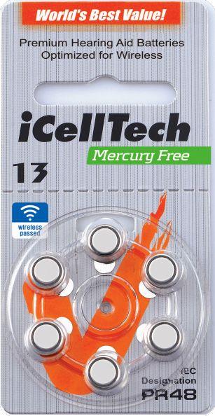 Hörgerätebatterien iCellTech 13DS Platinum (PR48/ PR754) - Blister à 6 Zink-Luft Knopfzellen