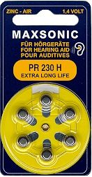 Hörgerätebatterien MAXSONIC PR10 Extra Long Life - Blister à 6 Zink-Luft Knopfzellen (