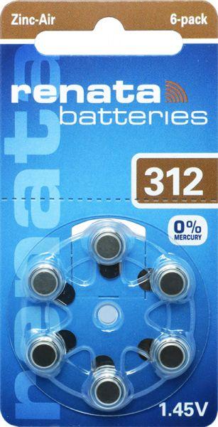 Hörgerätebatterien Renata ZA312 Zink-Air 0% Mercury (PR41/ PR736)