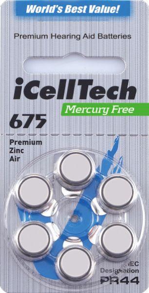 Hörgerätebatterien iCellTech 675DS Platinum (PR44/ PR1154) - Blister à 6 Zink-Luft Knopfzellen