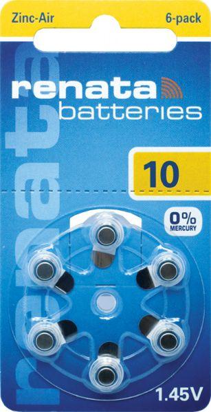 Hörgerätebatterien Renata ZA10 Zink-Air 0% Mercury (PR70/ PR536)