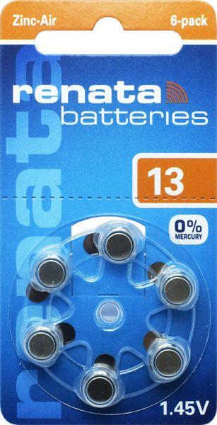 Hörgerätebatterien Renata ZA13 Zink-Air 0% Mercury (PR48/ PR754)