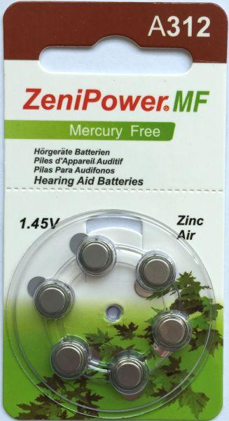 Hörgerätebatterien ZeniPower 312DS Platinum (PR41/ PR736) - Blister à 6 Zink-Luft Knopfzellen