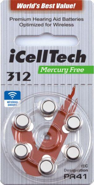Hörgerätebatterien iCellTech 312DS Platinum (PR41/ PR736) - Blister à 6 Zink-Luft Knopfzellen