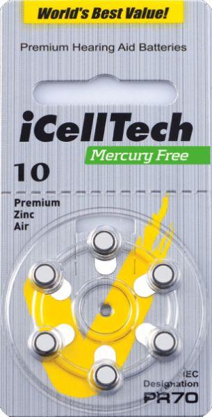 Hörgerätebatterien iCellTech 10DS Platinum (PR70/ PR536) - Blister à 6 Zink-Luft Knopfzellen