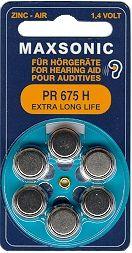 Hörgerätebatterien MAXSONIC PR 675 Extra Long Life - Blister à 6 Zink-Luft Knopfzellen (PR44/ PR1154)